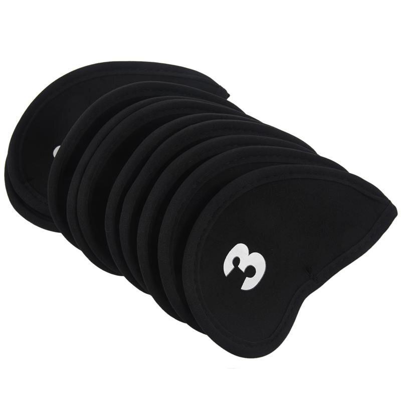 Set Of 10 Golf Iron Head Cover Neoprene Club Wedge Protective Headcovers Black