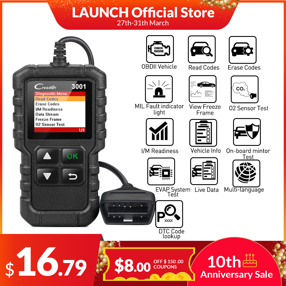 LAUNCH Code-Reader Car-Diagnostic-Tool Update Obdii-Engine ELM327 Full-Obd2-Scanner CR3001 title=