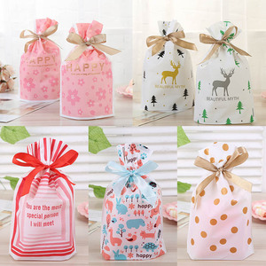 10Pcs Birthday Party Supplies Plastic Ribbons Food Biscuits Bag Wedding Decor Gift Package Stand-up Cookie Snack Candy Bag