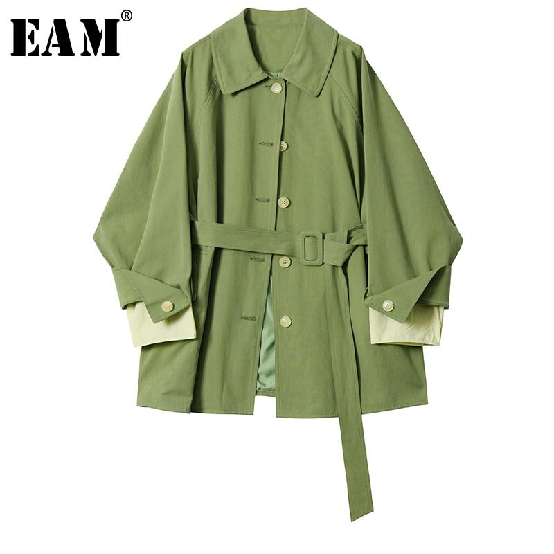 [EAM] Women Green Big Size Waistbelt   Trench   New Lapel Long Sleeve Loose Fit Windbreaker Fashion Tide Autumn Winter 2019 1B492