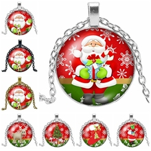 2019 New Santa Claus Gift Necklace Glass Cabochon Silver Pendant for Childrens Year