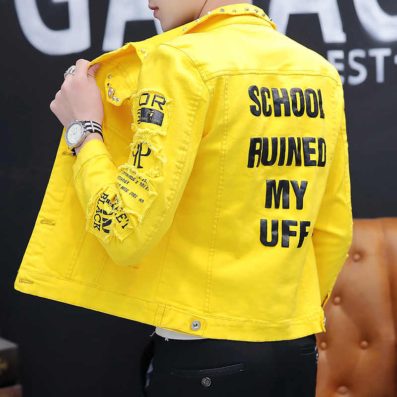 2020 春のファッション白デニムジャケット男性韓国服スリム男性ジャケット春ハンサムリベットボンバージャケット男性