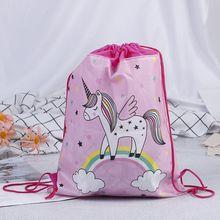 Сумка на шнурке с единорогом для девочек, дорожная посылка для хранения, школьные рюкзаки с героями мультфильмов, детские подарки на день рождения