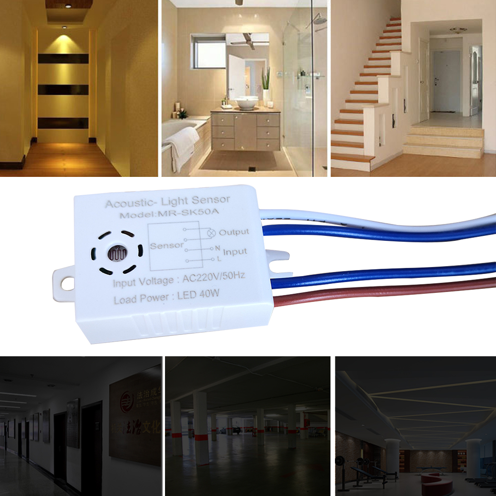 220V Bathroom Electrical Active Components Acoustic Sensor Switch Gadget LED Sound Operated Light Accessories Corridors Energy