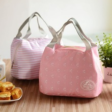 8 choices Striped Dot Portable Lunch box Bag Thermal Insulated Cold keep Food Safe Bow Stripe warm bags For Girls Women