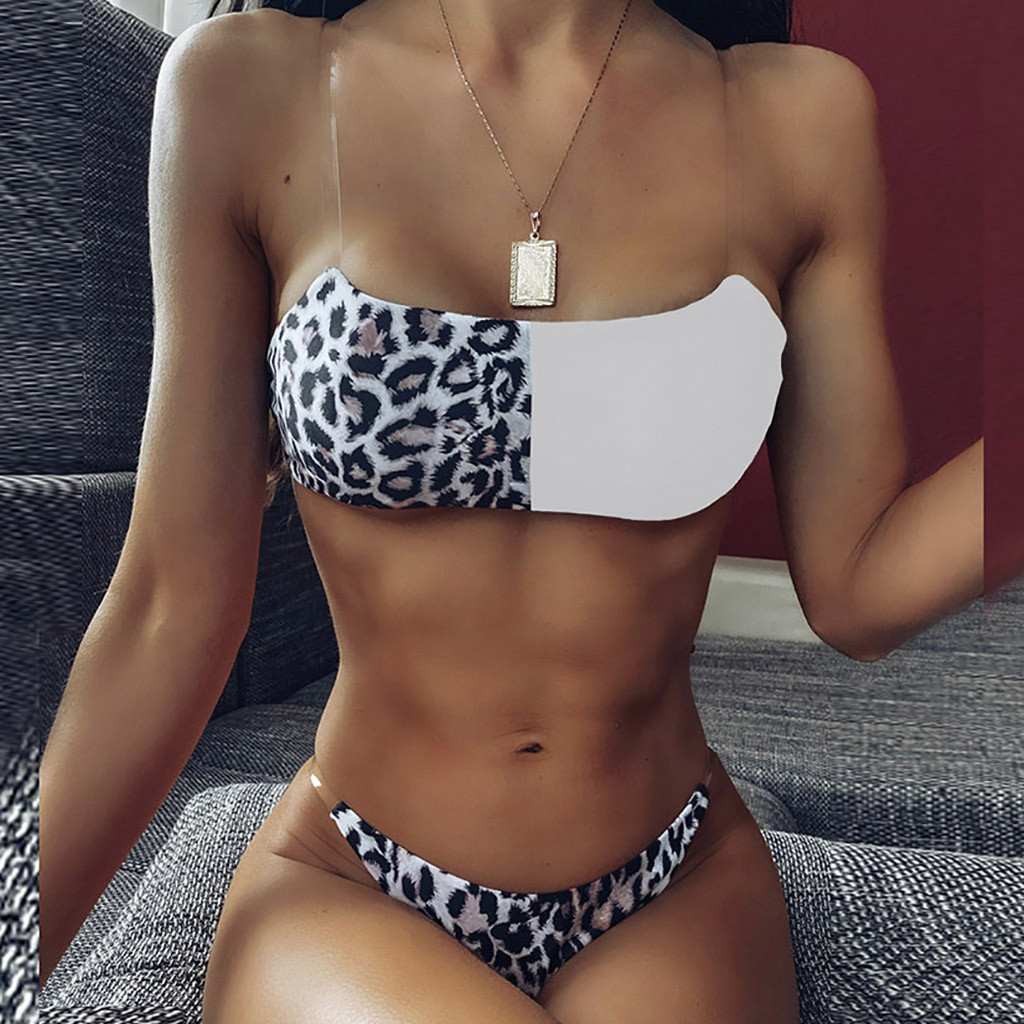 Swimsuit Women's Bikini Leopard Set Two Piece Filled Bra Beachwear Swimming pool Sea Daily swimwear women bikinis 2020 mujer#Y20 2