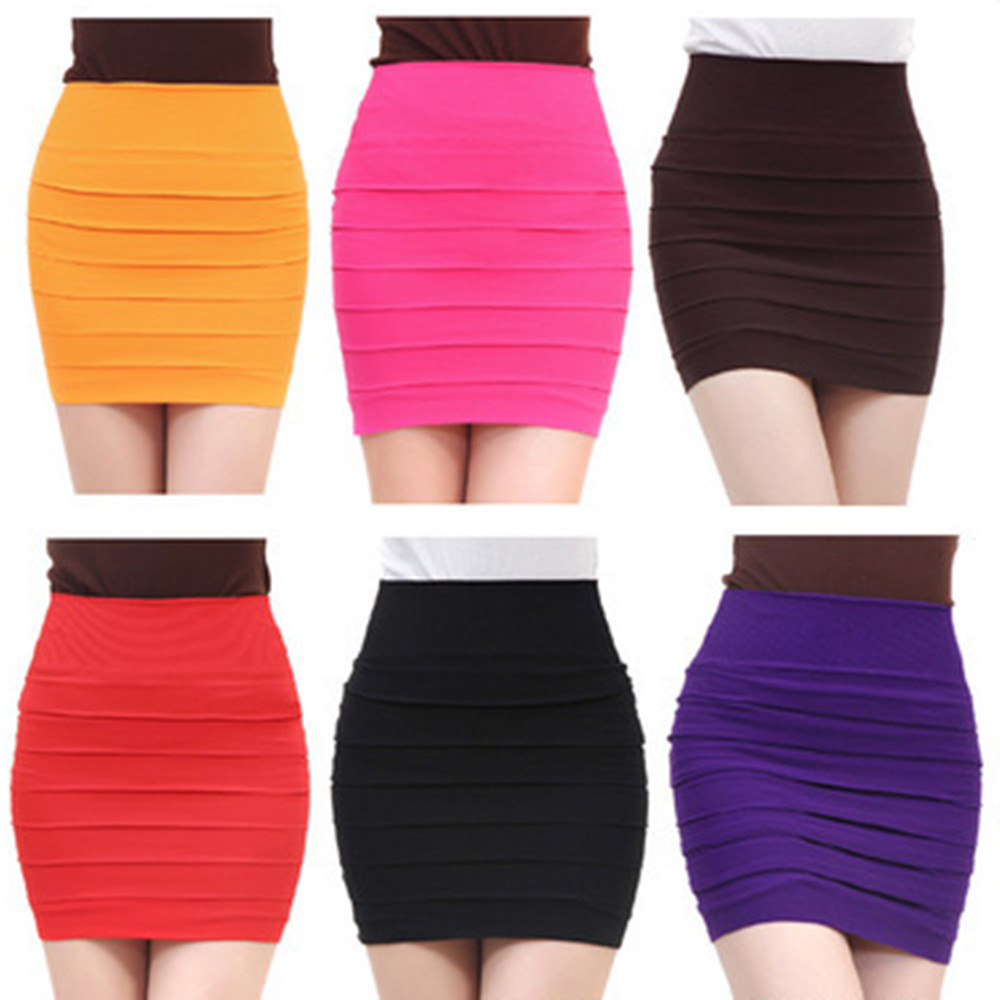 Women Candy colors Sexy High Waist Pleated Skinny Mini Bandage Hip Skirt YF173