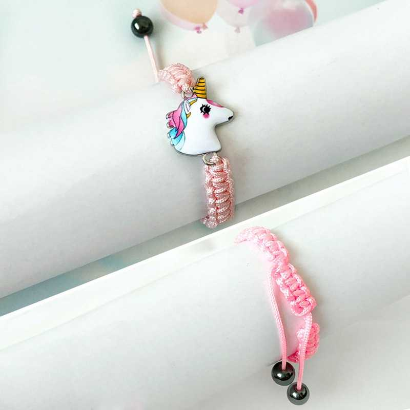 DIY ถักยูนิคอร์นม้าสร้อยข้อมือน่ารักสีชมพู/สีขาวจี้สร้อยข้อมือสำหรับของขวัญผู้หญิงผู้หญิงกำไลเครื่องประดับ
