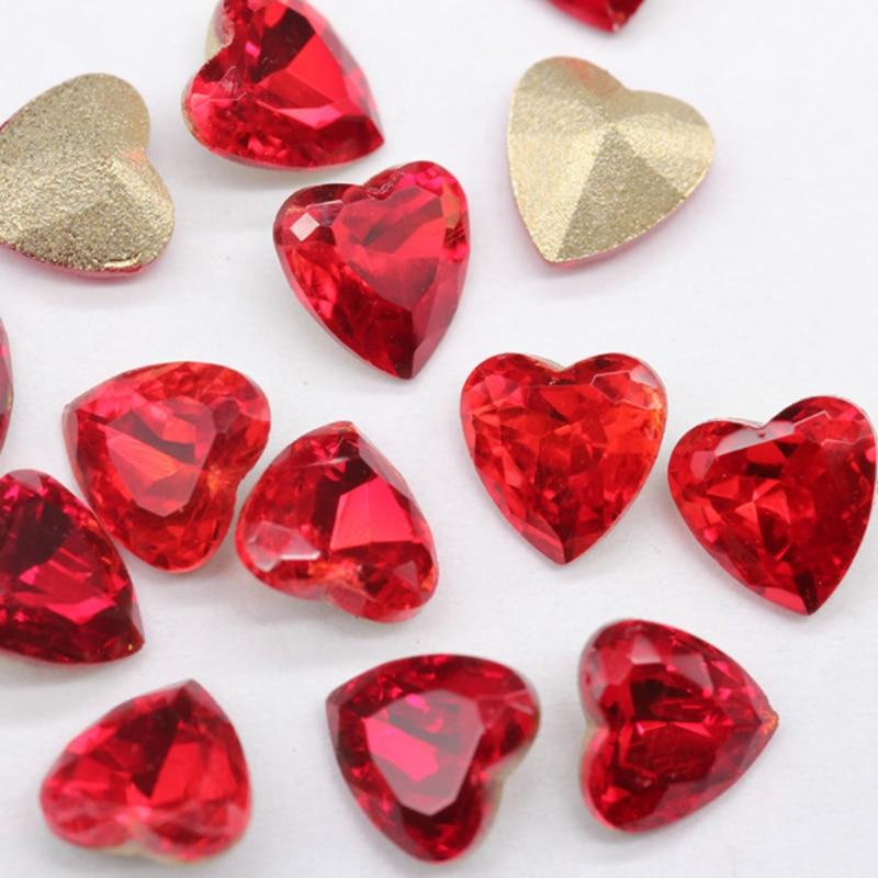 5 pièces Sexy chine rouge fond pointu strass Nail Art paillettes décorations manucure bricolage cheval oeil coeur gemmes breloque ongles bijoux