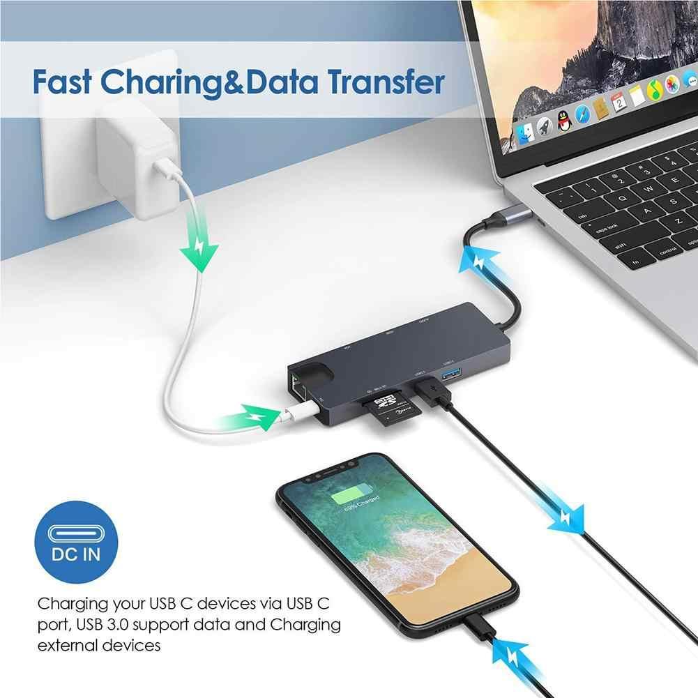 8 в 1 USB C концентратор адаптер USB C к HDMI USB 3,0*2 концентратор кард-ридер док-станция с гигабитной сетевой картой поддержка гигабит