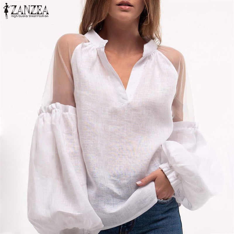 ZANZEA seksi Patchwork dantel gömlek 2020 kadın fener kollu bluz Casual V boyun çalışması beyaz ShirtTunic Blusas Femininas Chemise