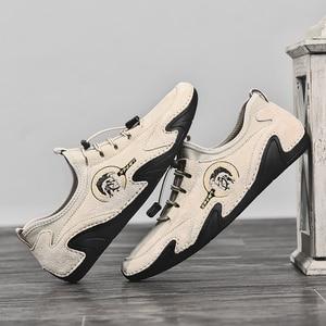 Image 2 - Valstone 정품 가죽 캐주얼 신발 남자 품질 남자 스 니 커 즈 드라이브 신발 탄성 레이스 업 슬립에 신발 자연 피부