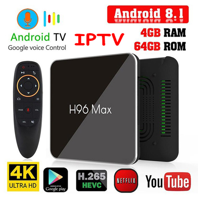 H96 Max X2 Android 8.1 Tv, pudełko 4GB + 32G/64GB Smart Tv IPTV M3u Android Box 4G + 5G Wifi USB 3.0 4K H.265 odtwarzacz multimedialny Iptv procesor Amlogic