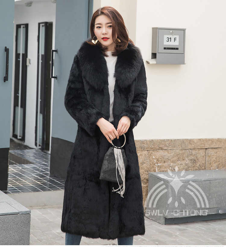 New genuine real natural  rabbit fur coat with fox fur collar women fashion long jacket with belt  ladies warm outwear