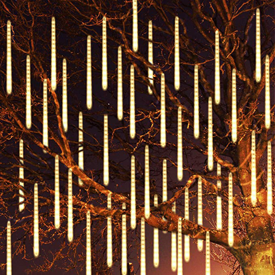 BEIAIDI 30CM 50CM Meteor Shower Rain Tube LED String Light 8 Tube Falling Rain Drop Icicle Christmas Wedding Fairy Light Garland
