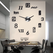 Simple Silent Acrylic Large Decorative DIY Numbers Wall Clock Modern Design Living Room Home Decoration Wall Watch Wall Stickers