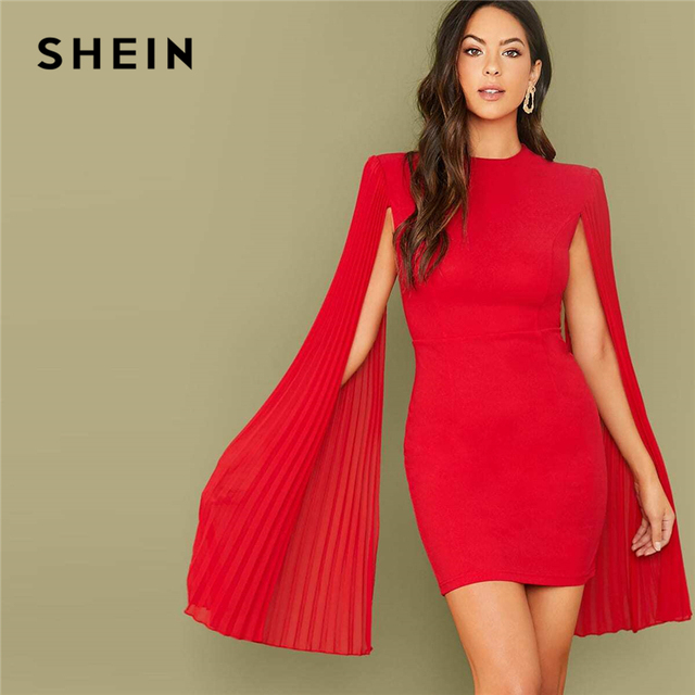 SHEIN Red Solid Pleated Cape Party Bodycon Dress Without Belt Women 2019 Autumn High Waist Cloak Sleeve Sexy Pencil Dresses