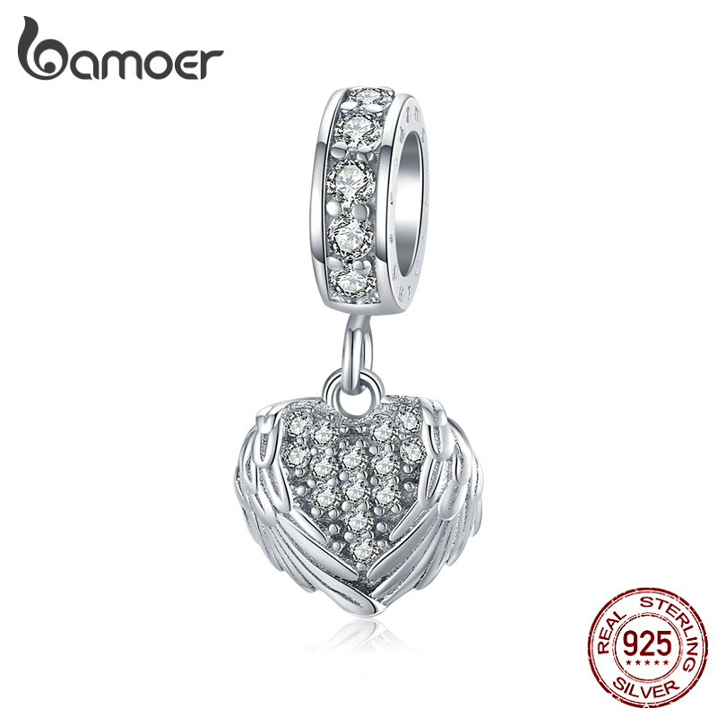 Bamoer Silver 925 Jewelry Dazzling CZ Heart With Wings Pendant Charm Fit For Bracelet Bangle Guardian Fashion Accessories BSC138