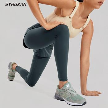 SYROKAN Women's Luxury Mid-Rise 2 in 1 Tight Sports Jogging Fitness Legging-25 inches