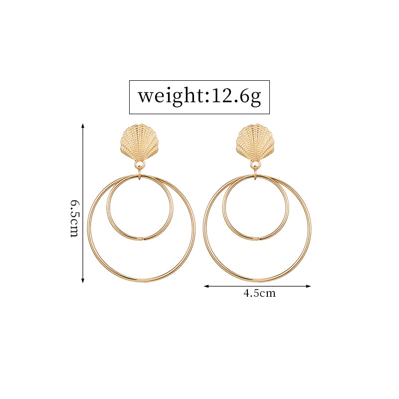 Vintage Hyperbolic Shell Round Circle Dangle Drop Women 39 s Earrings 2019 серьги Fashion Jewelry Bohemia YSF in Drop Earrings from Jewelry amp Accessories