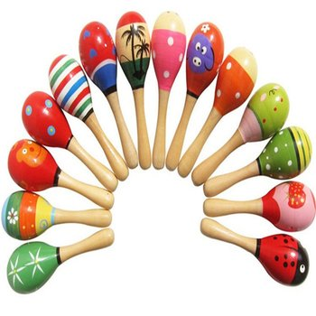 Baby Toys Wooden Rattle Cute Mini Sand Hammer Maracas Musical Instrument Toys Kids Gifts image