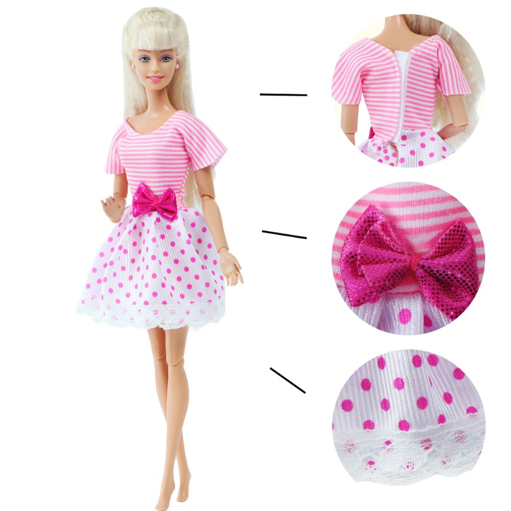 1Pcs Cute Doll Short Dress For Barbie Doll 12'' Pink Shirt Lace Doll Skirt Daily Dating Wear Doll Clothes Accessories Girl's Toy