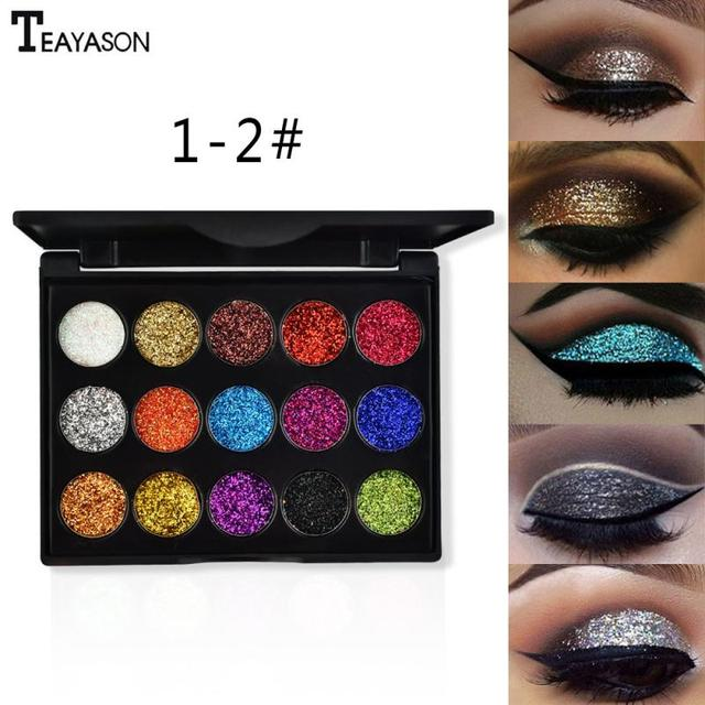 15 Color Diamond Sequins Lasting Eyeshadow Tray Glitter Powder Waterproof Eye Shadow Palette Stage Sequins Eye Makeup TSLM2 3