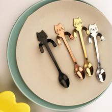 Teaspoon 2PCS Coffee Spoon Scoop Creative Cute Cat Dessert Snack  Ice Stainless Cream Mini Tableware Wholesale 11.8 * 1.8 cm