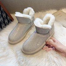 Luxury Boots Rhinestone Women Winter Shoes Platform Flat-Wool Plus-Size Genuine-Leather