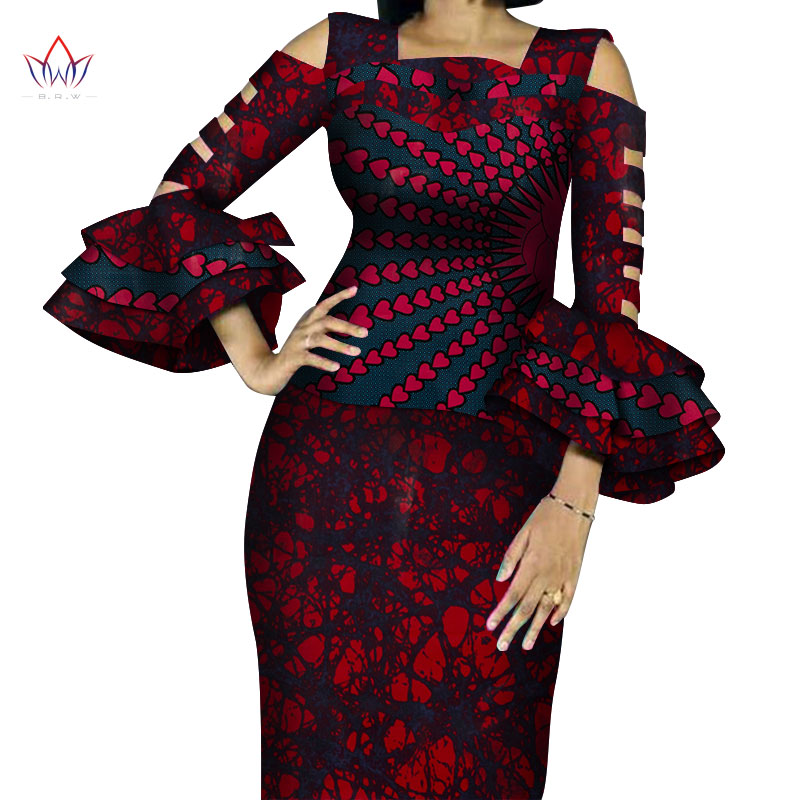 Customize African Print Ruffles Sleeve Tops And Skirt Sets For Women Bazin Riche African Clothing 2 Pieces Skirts Sets WY4300
