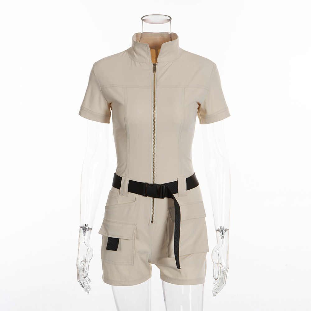 2019 ผู้หญิงฤดูร้อน Overalls Casual Romper Jumpsuit ด้านหน้าซิปกางเกงขาสั้นฤดูร้อนกางเกงเสื้อ Jumpsuit หญิงสีกากี Playsuit