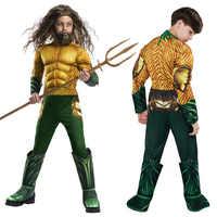 Enfants Halloween or Aquaman Muscle roi de mer Cosplay Costumes enfants garçons super-héros fête fantaisie combinaison Marvel body collants