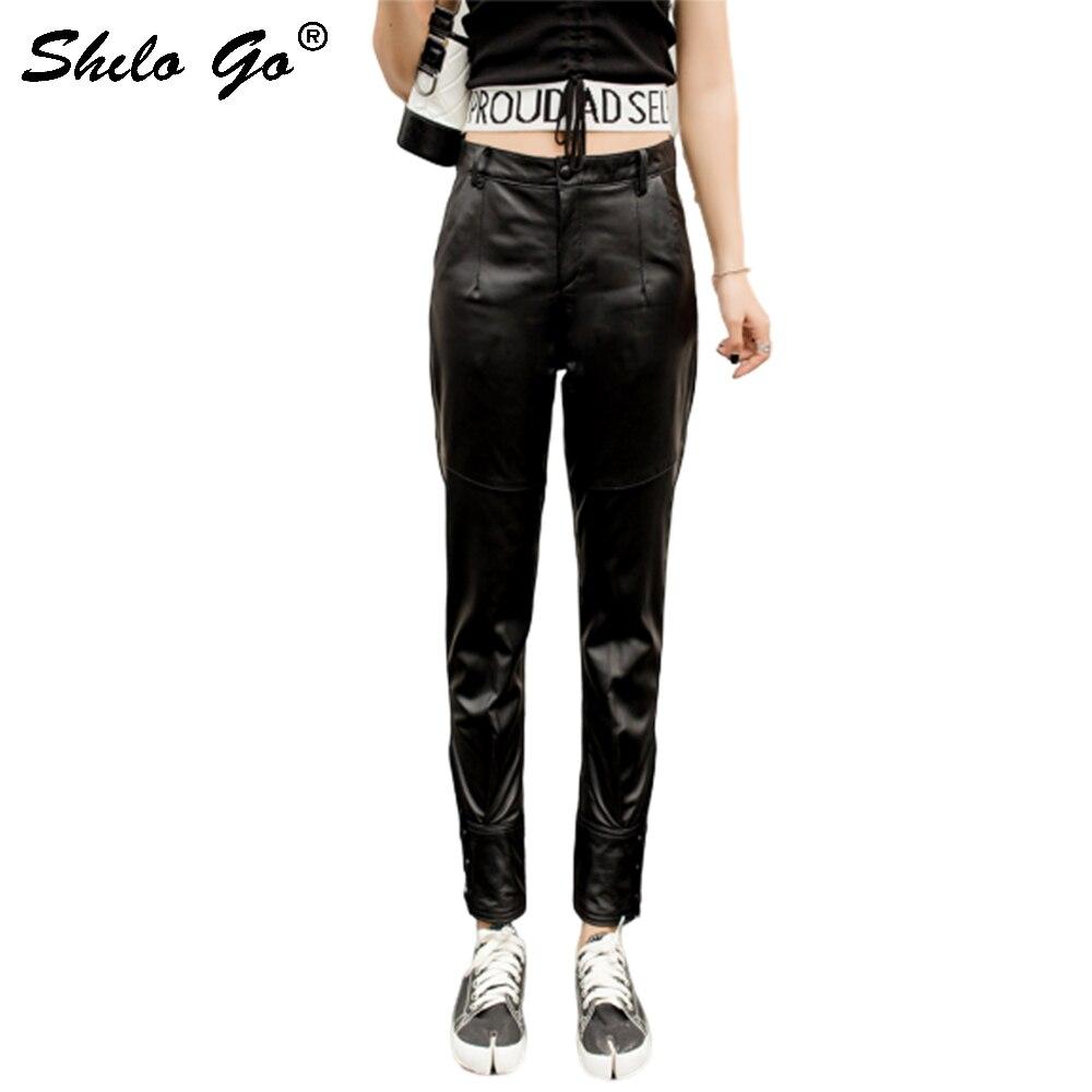 Genuine Leather Pants Minimalist Black Button Front Sheepskin Pencil Pants Women Autumn Winter Highstreet Solid Boots Trousers