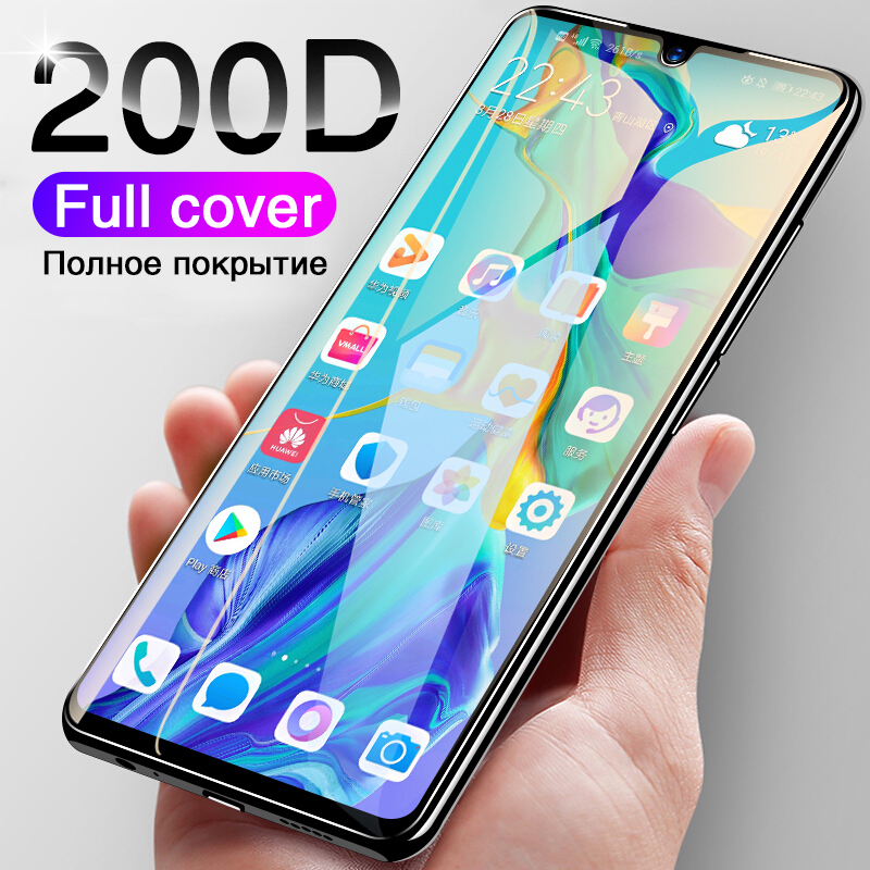 200D Tempered Glass For Huawei P30 P20 Pro Screen Protector Full Curved Edge For P20 P30 Lite Protective Glass On Honor 9 Lite