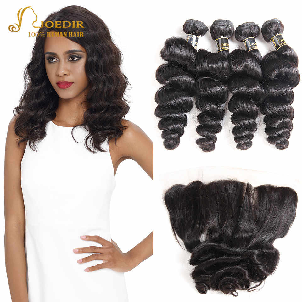Joedir Hair Pre Colored Human Hair Bundles Brazilian Loose Wave Bundles With Frontal Closure 4 Bundles With Frontal Non Remy