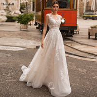Thinyfull New Bohemian Wedding Dresses Lace Appliques Princess Illusion Beach A Line Bride Dress Boho Robe Mariage Femme 2021