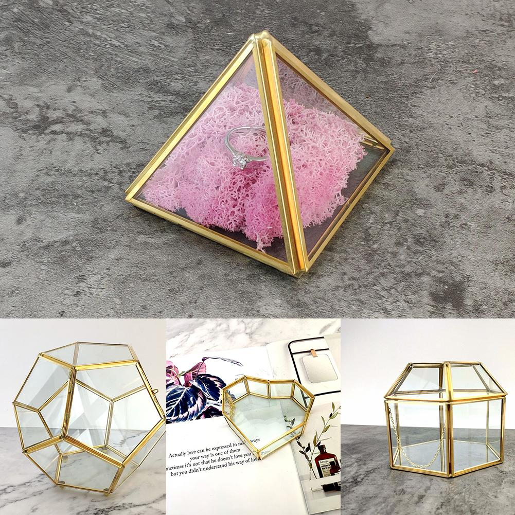 Nordic Geometric Transparent Glass Cases Tabletop Display Case Jewelry Trinket Wedding Ring Glass Box For Home Decoration 30E