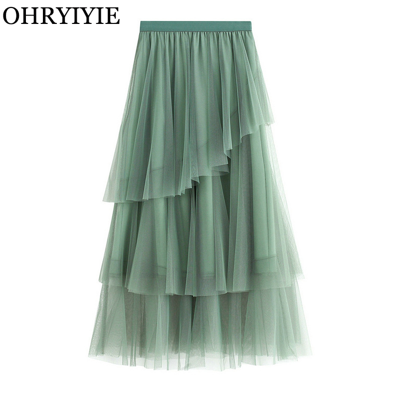 OHRYIYIE Green Pink Maxi Long Tulle Skirt Women Fashion Korean Elegant Elastic High Waist  A-line Tutu Skirt Female Jupe Longue