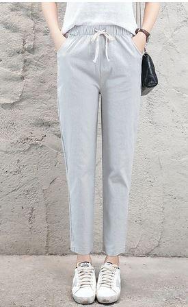 Ligentleman Women pants Casual Solid Spring Summer Cotton Linen Lady Ankle -length Capris Trousers Pencil
