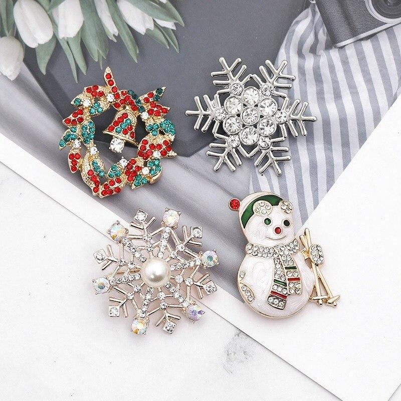 Рождественская серия брошь модная Рождественская гирлянда Снежинка лыжный Снеговик креативная брошь Подарки для женщин аксессуары
