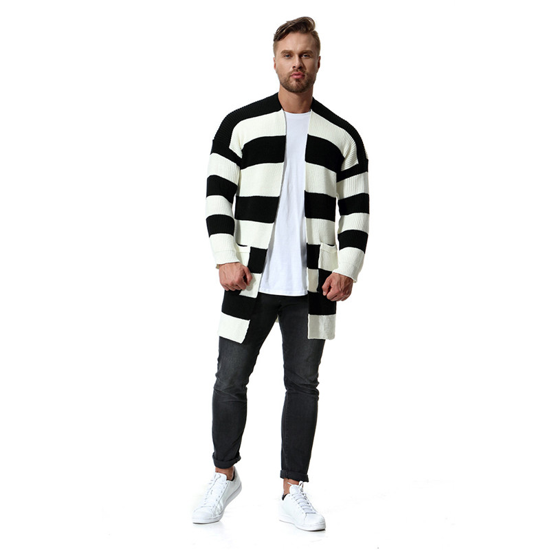 Black And White Stripes Panelled Mens Designer Sweaters Fashion Slim Pockets Cardigan Sweaters Casual Males Clothing