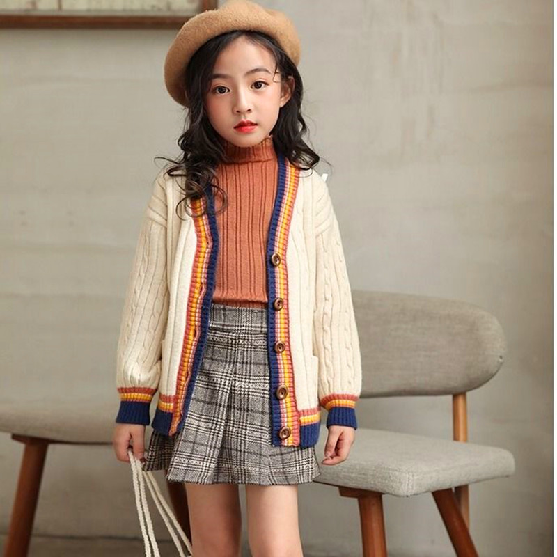 Image 4 - Kids Girls Cardigan Spring Autumn 2020 Knitted Sweaters Button Pure Color Knit Clothes for Teen School Girls Children ClothingSweaters   -
