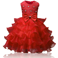Flower Bow-knot Girl Dress Formal 3-8 Years Floral Baby Girls Dresses 9 Colors Wedding Party Children Clothes Birthday Clothing недорого