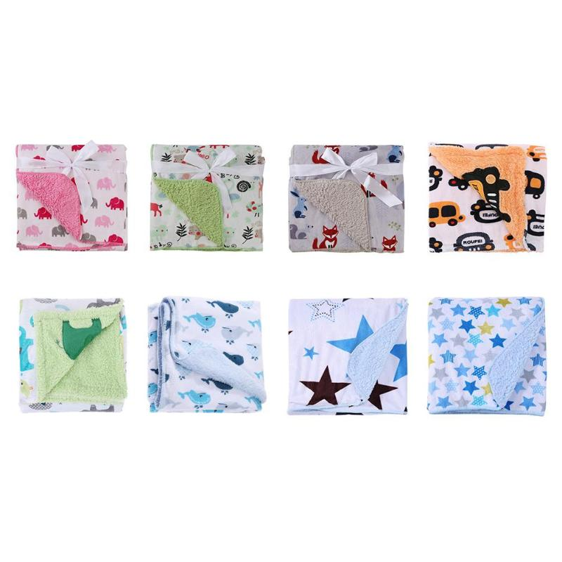 Infant Baby Sleep Blanket Coral Velvet Double-ply Thickened Fabric Soft Warm Swaddle Toddler Bath Towel Cover Air Mat