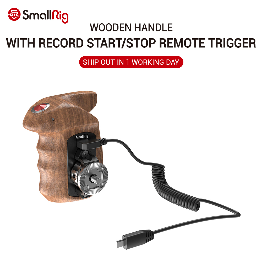 SmallRig A6400 Camera Right Side Wooden Hand Grip With Record Start/Stop Remote Trigger For Sony Mirrorless Cameras HSR2511