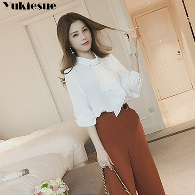 2020 summer long sleeve women's shirt blouse for women blusas womens tops and blouses chiffon shirts ladie's top plus size 5
