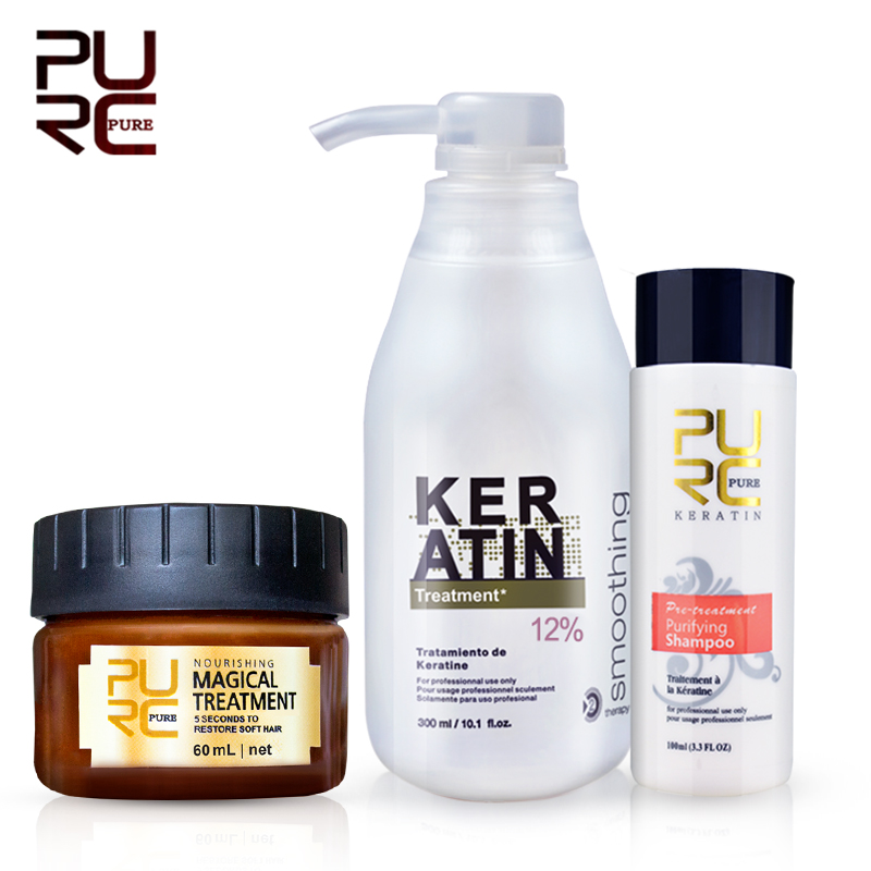 PURC Brazilian keratin 12% formalin 300ml keratin treatment set & magical hair mask repair damage hair make hair smooth & shine|Hair & Scalp Treatments| - AliExpress