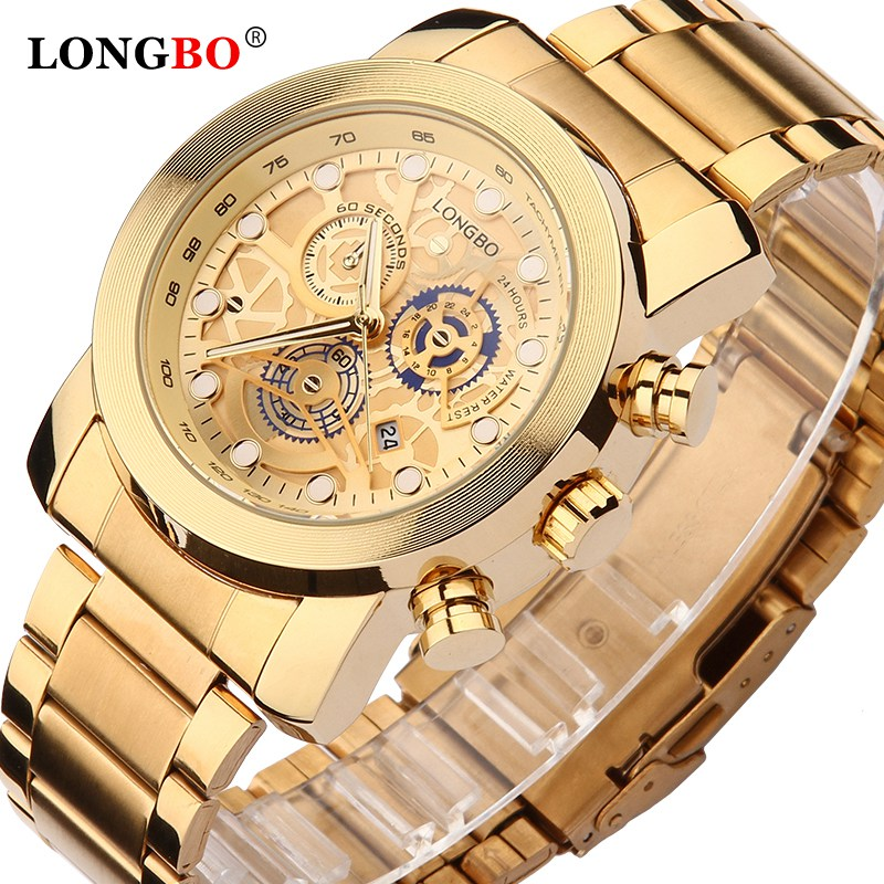 LONGBO Top Men Watches Waterproof Stainless Steel Quartz Watch Male Chronograph Military Clock Wrist Watch Relogio Masculino