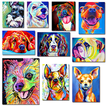 GATYZTORY DIY Painting By Numbers Dogs Animal HandPainted Oil Acrylic Drawing On Canvas Unique Gift Wall Decor