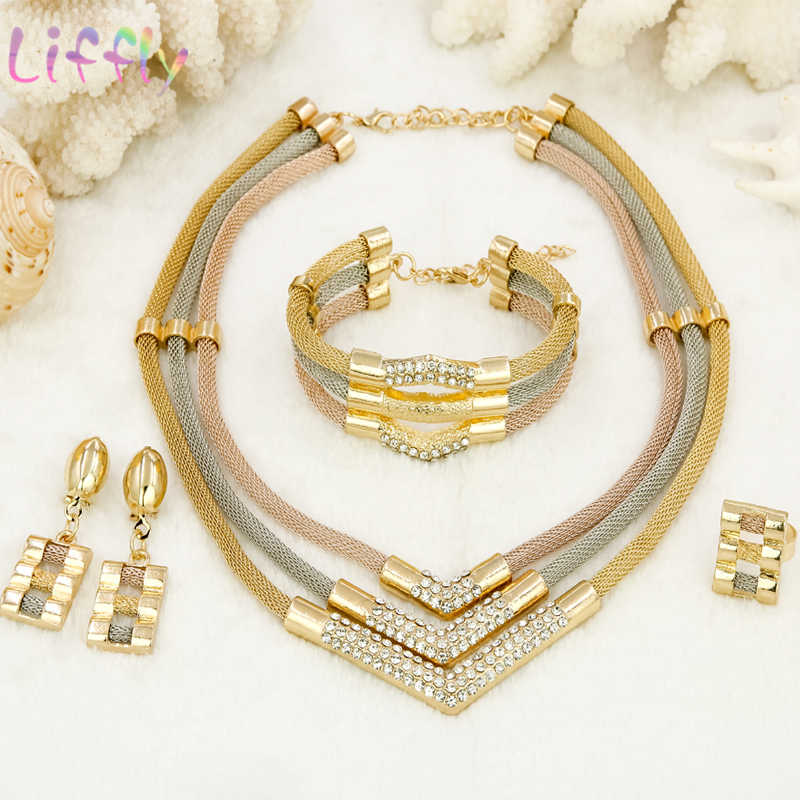 Liffly African Gold Jewelry Sets for Women Classic Crystal Necklace Bracelet Earrings Ring Wedding Party Jewelry Sets for Bride